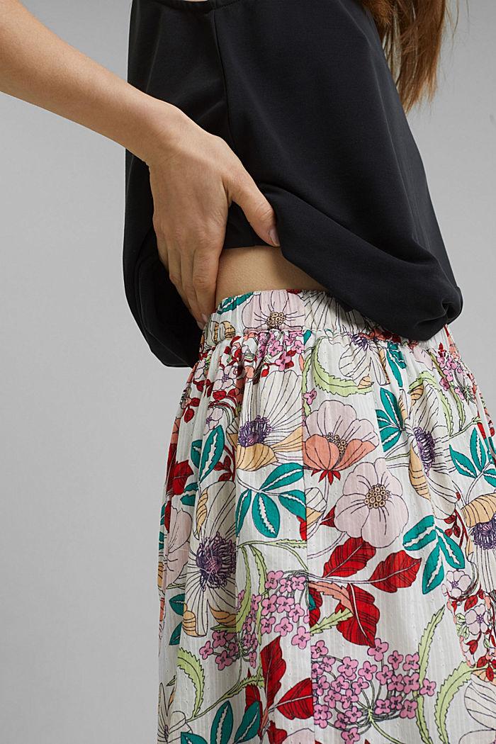 Falda con estampado de flores, 100 % algodón ecológico, OFF WHITE, detail image number 2