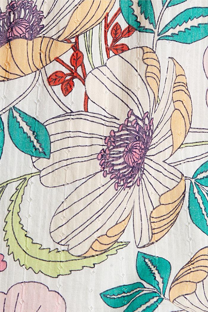 Falda con estampado de flores, 100 % algodón ecológico, OFF WHITE, detail image number 4