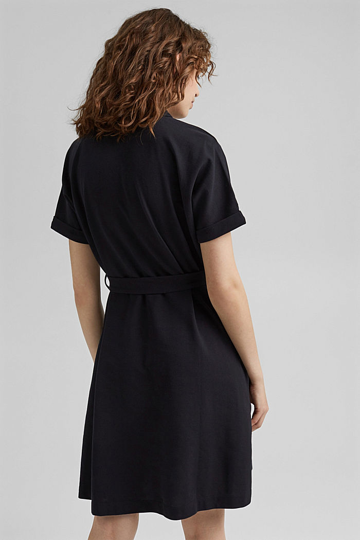 Polo dress with belt, organic cotton, BLACK, detail image number 2