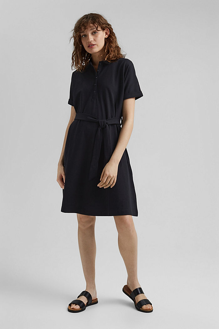 Polo dress with belt, organic cotton, BLACK, detail image number 1