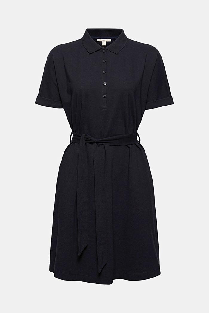 Polo dress with belt, organic cotton