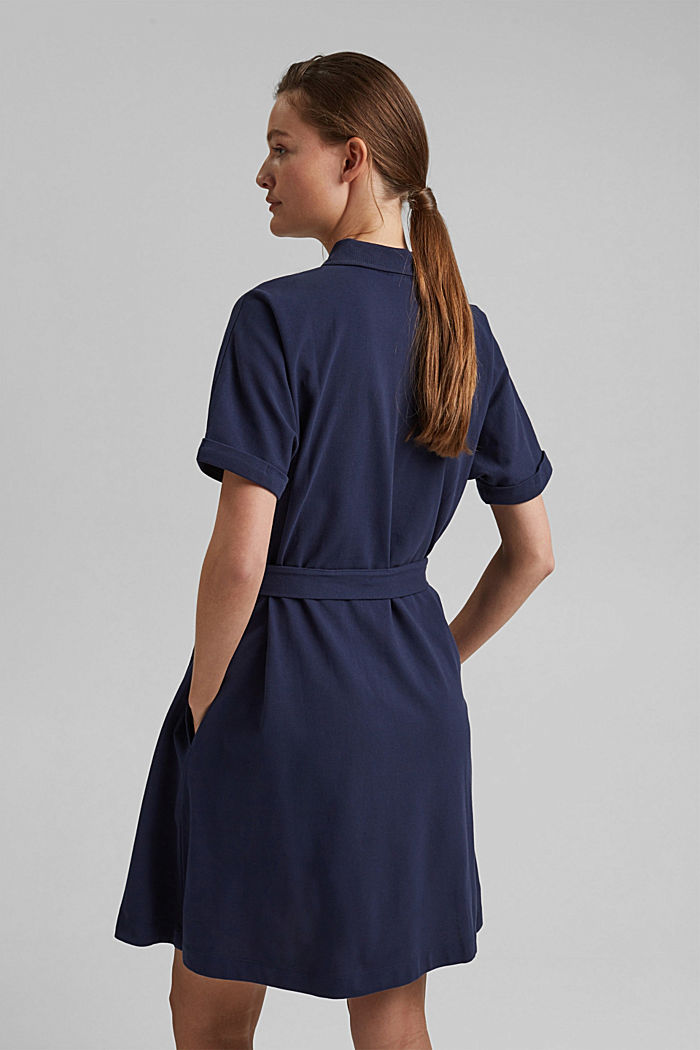 Polo dress with belt, organic cotton, NAVY, detail image number 2