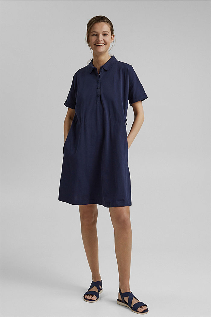 Polo dress with belt, organic cotton, NAVY, detail image number 1
