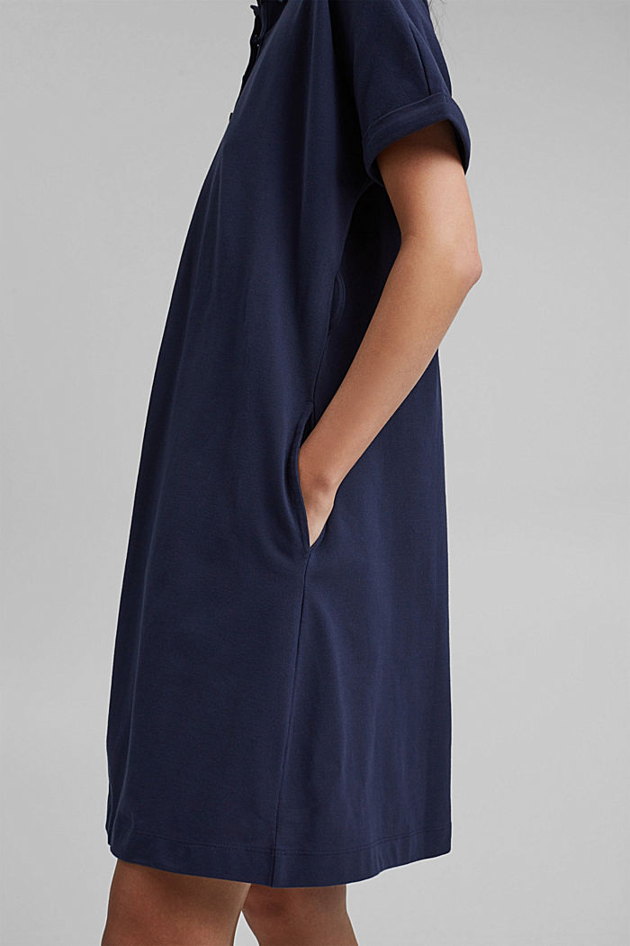 Polo dress with belt, organic cotton, NAVY, detail image number 3