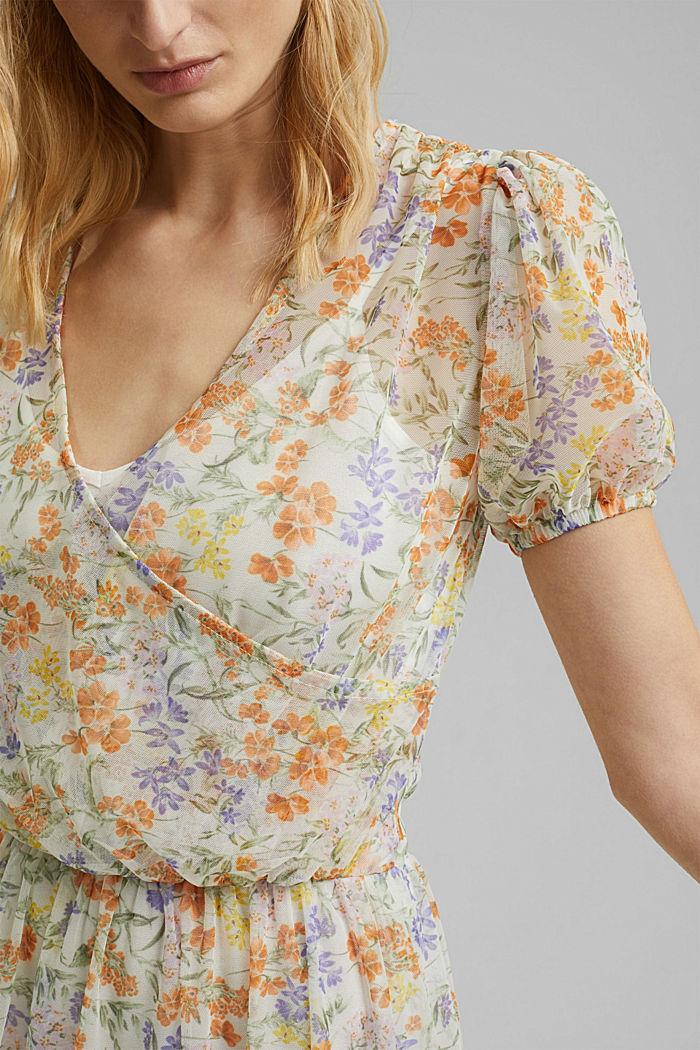 Robe en mesh à imprimé et effet cache-cœur, OFF WHITE, detail image number 3