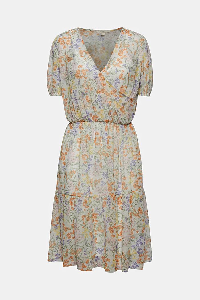 Mesh jurk met wikkellook en print