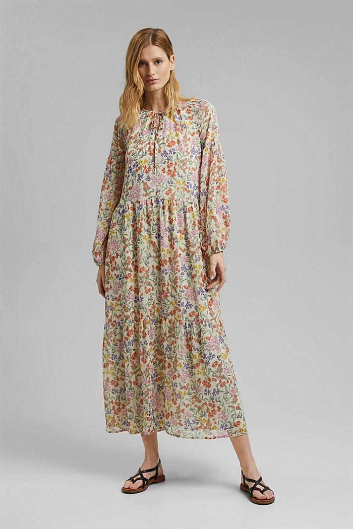 Z recyklingu: sukienka maxi z gniecionego szyfonu, OFF WHITE, detail image number 0