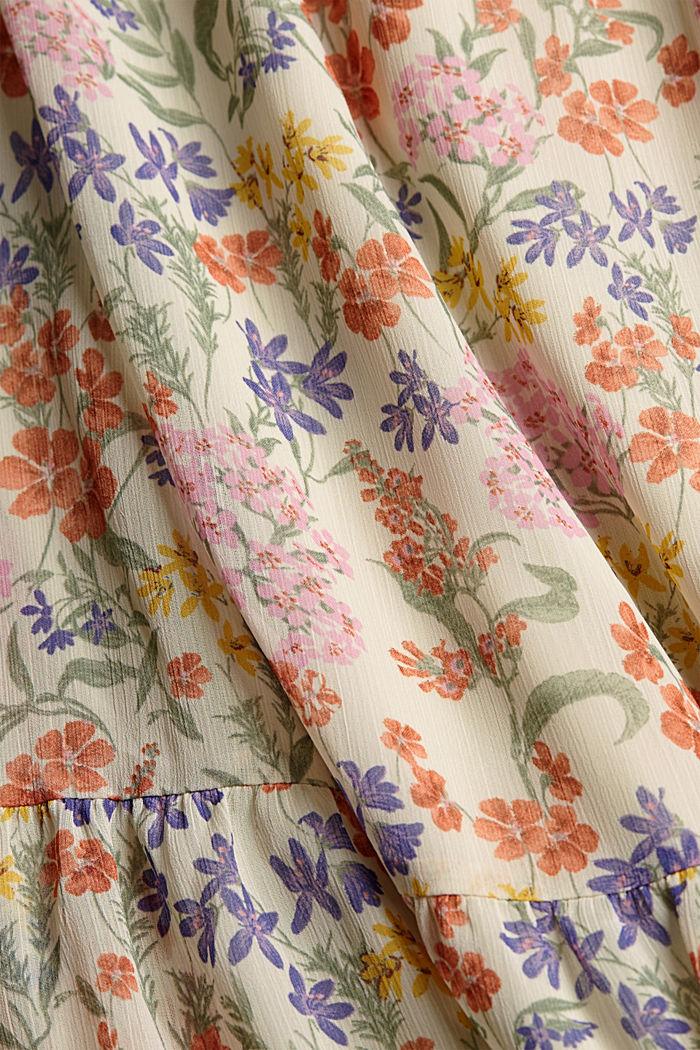 Z recyklingu: sukienka maxi z gniecionego szyfonu, OFF WHITE, detail image number 4