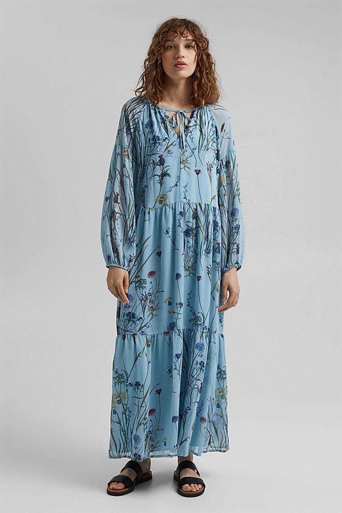 Z recyklingu: sukienka maxi z gniecionego szyfonu, LIGHT BLUE, detail image number 1