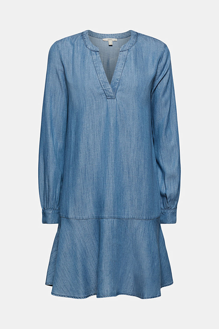 Made of TENCEL™: Denim dress with flounces