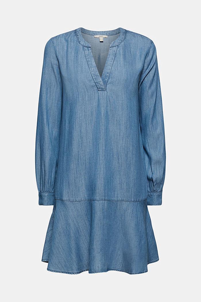 Aus TENCEL™: Denim-Kleid mit Volants
