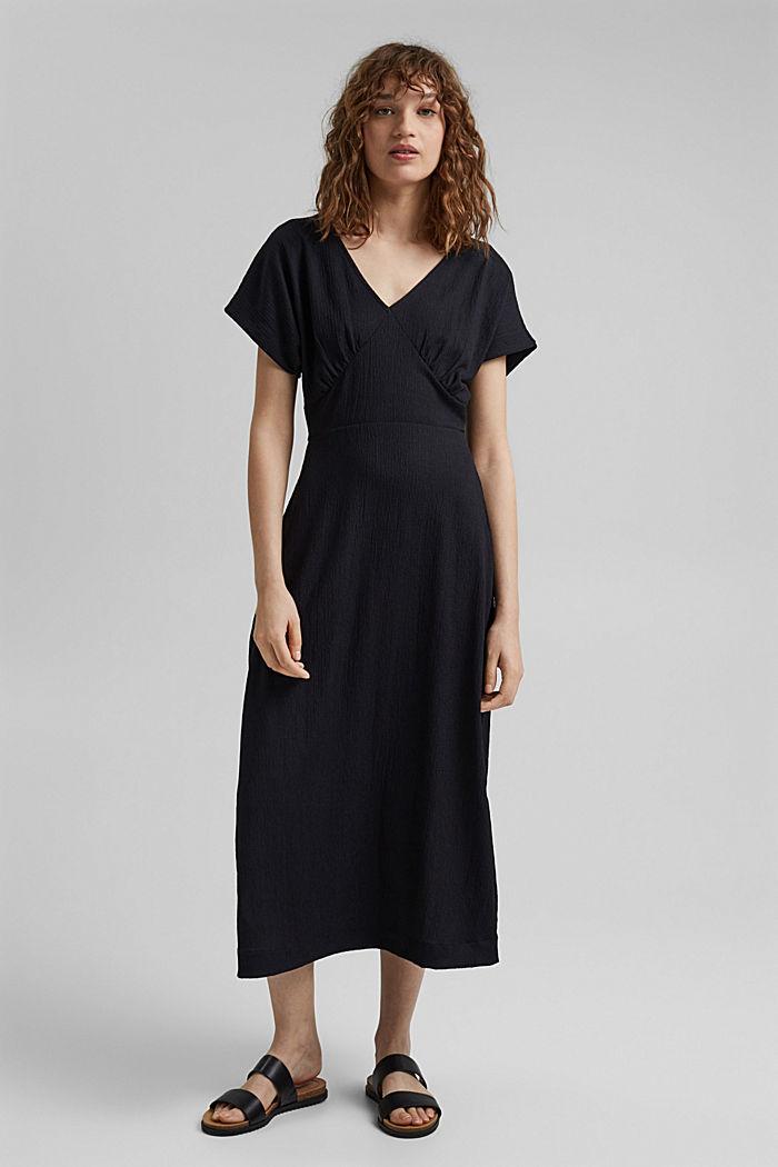 En matières recyclées: robe longueur midi à ceinture à nouer, BLACK, detail image number 0