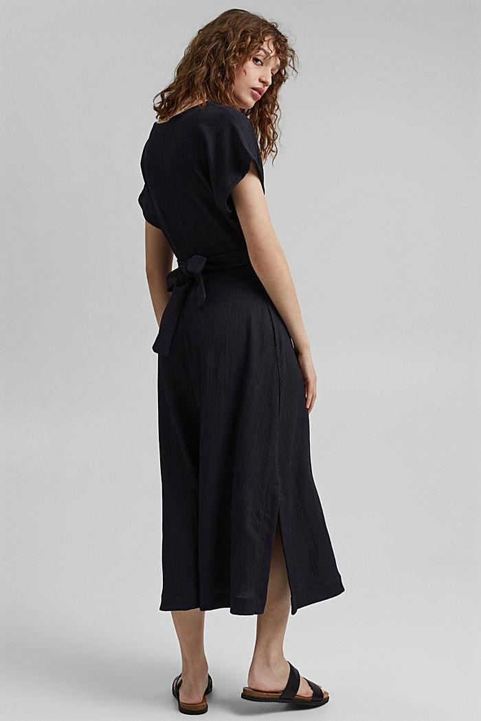 En matières recyclées: robe longueur midi à ceinture à nouer, BLACK, detail image number 2