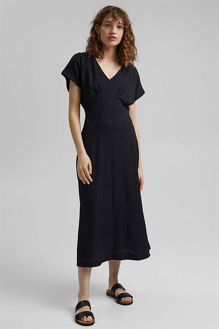 En matières recyclées: robe longueur midi à ceinture à nouer, BLACK, detail image number 1