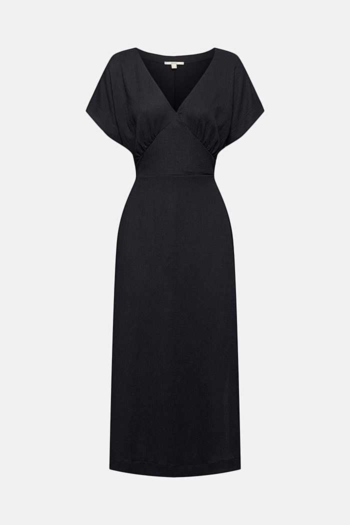 En matières recyclées: robe longueur midi à ceinture à nouer, BLACK, detail image number 6