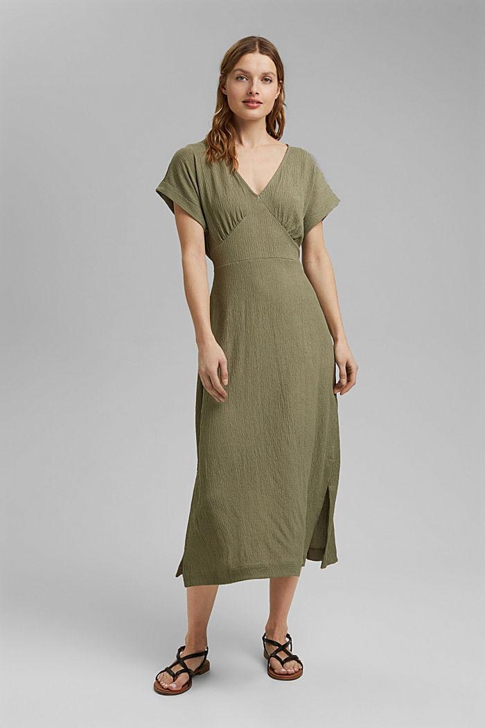 En matières recyclées: robe longueur midi à ceinture à nouer, LIGHT KHAKI, detail image number 0