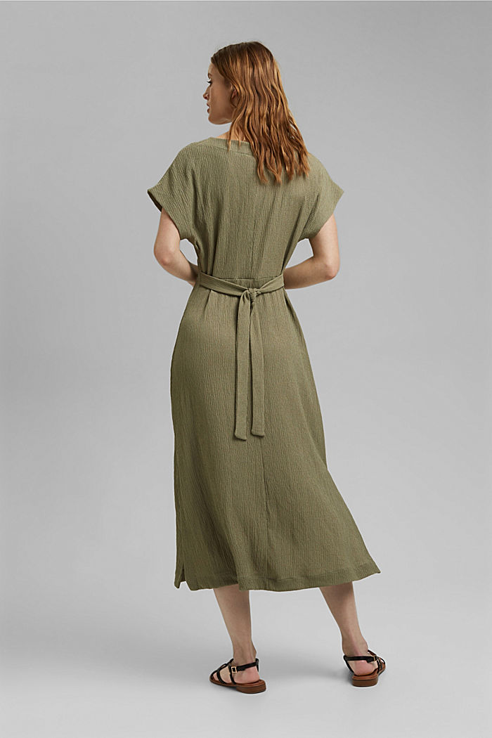 En matières recyclées: robe longueur midi à ceinture à nouer, LIGHT KHAKI, detail image number 2
