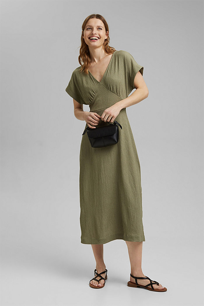 Recycled: midi dress with a tie-around belt, LIGHT KHAKI, detail image number 1