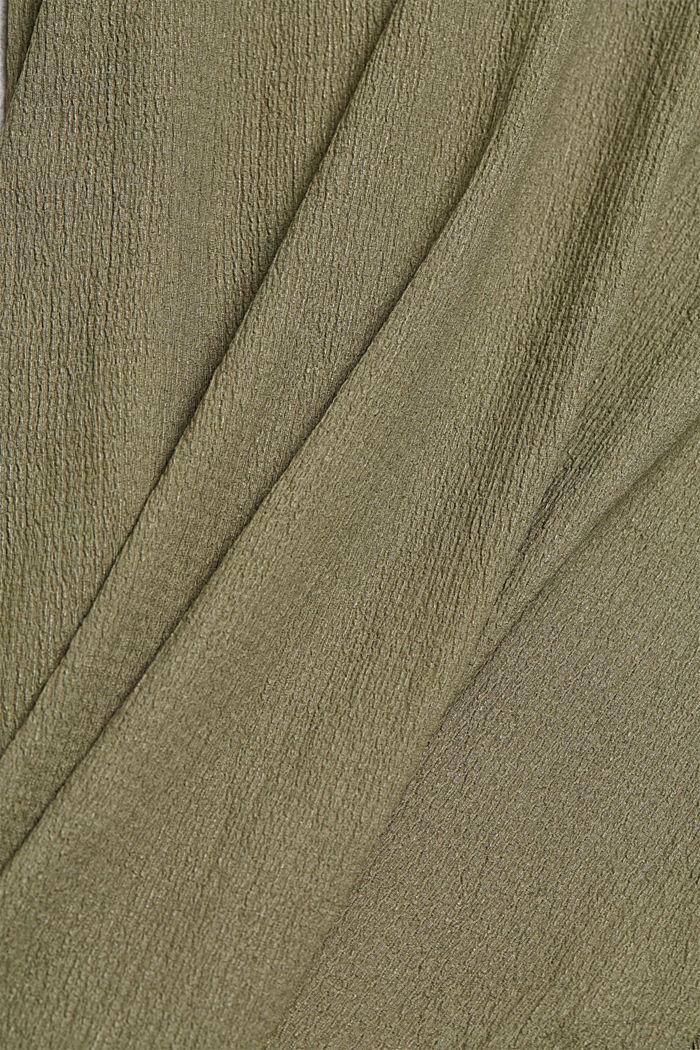 En matières recyclées: robe longueur midi à ceinture à nouer, LIGHT KHAKI, detail image number 4