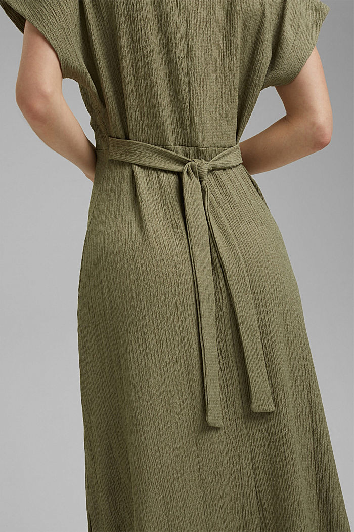 Recycled: midi dress with a tie-around belt, LIGHT KHAKI, detail image number 5
