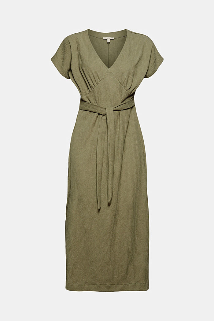 Recycled: midi dress with a tie-around belt, LIGHT KHAKI, detail image number 6