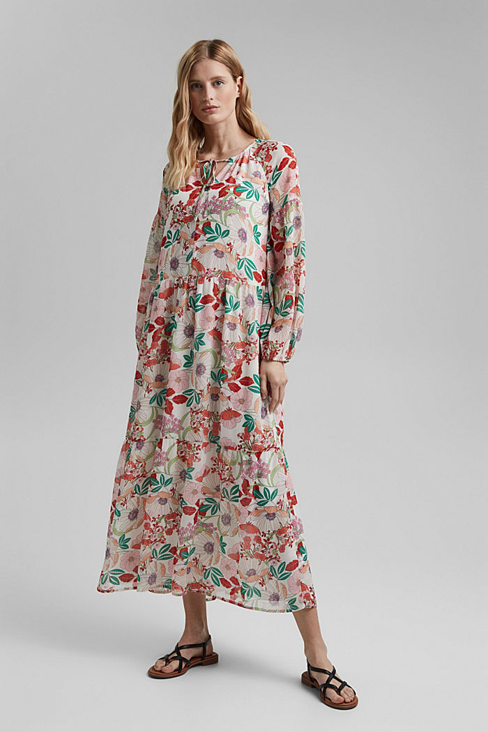 Printed maxi dress with flounces, OFF WHITE, detail image number 0