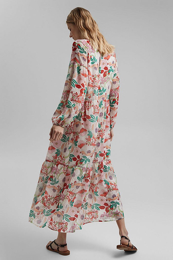 Printed maxi dress with flounces, OFF WHITE, detail image number 2
