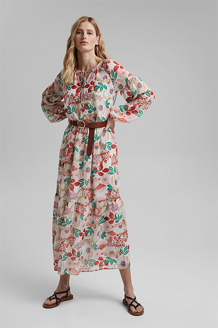 Printed maxi dress with flounces, OFF WHITE, detail image number 1