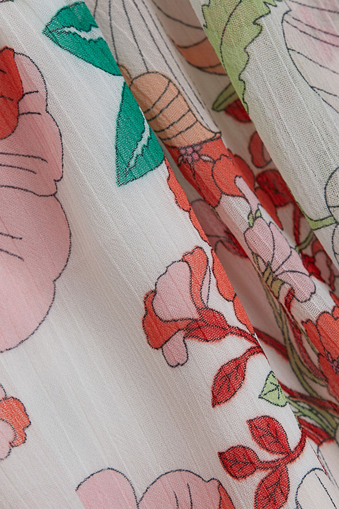 Printed maxi dress with flounces, OFF WHITE, detail image number 4