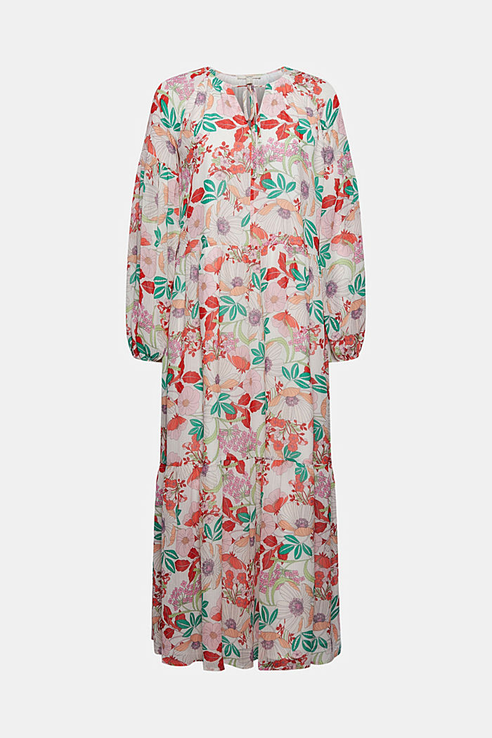 Printed maxi dress with flounces, OFF WHITE, detail image number 5