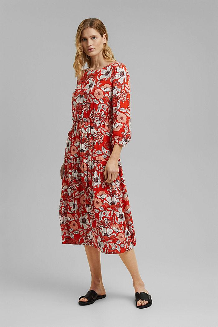 Printed midi dress, LENZING™ ECOVERO™, ORANGE RED, detail image number 0
