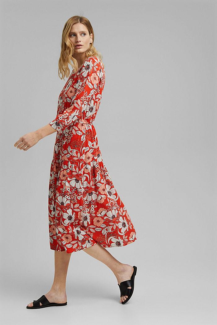 Printed midi dress, LENZING™ ECOVERO™, ORANGE RED, detail image number 1