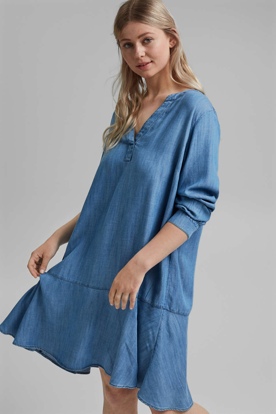 Esprit - CURVY TENCEL™: denim jurk met volants