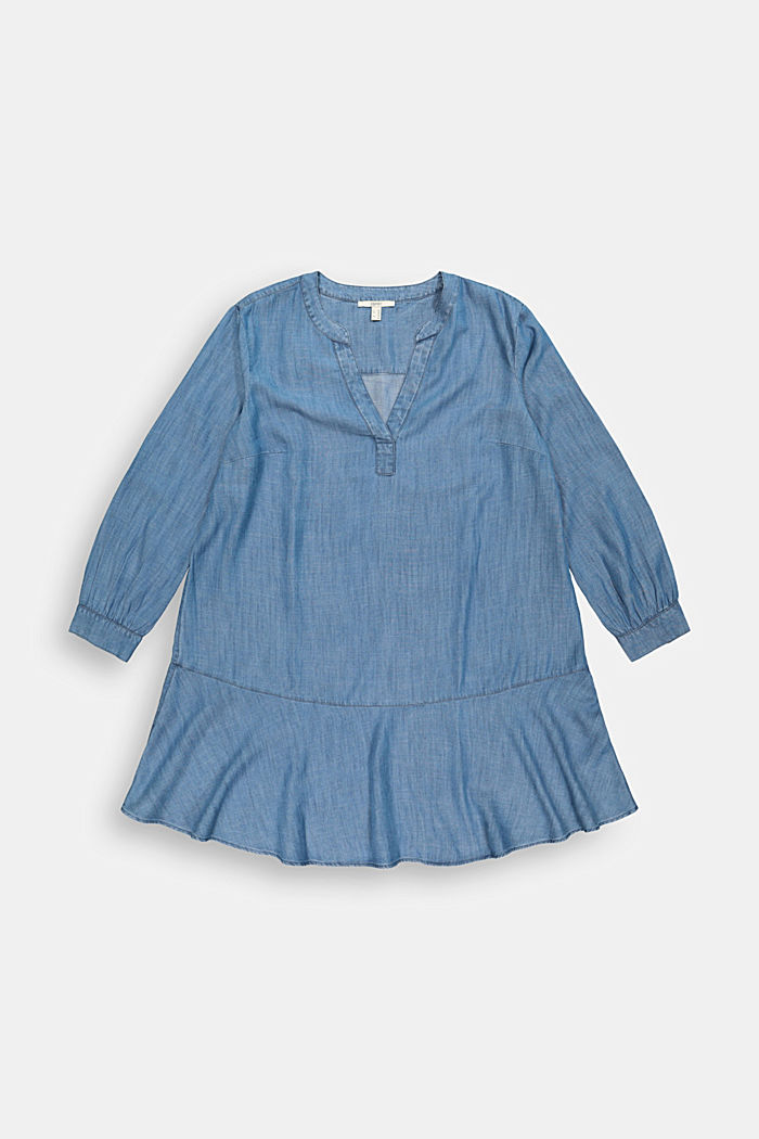 CURVY TENCEL™: frilled denim dress
