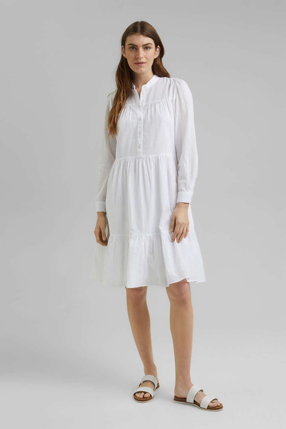 Esprit - Organic cotton shirt dress with flounces