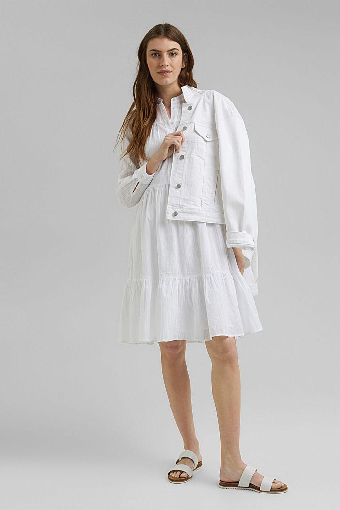 Hemdblusenkleid mit Volants, Organic Cotton, WHITE, detail image number 1