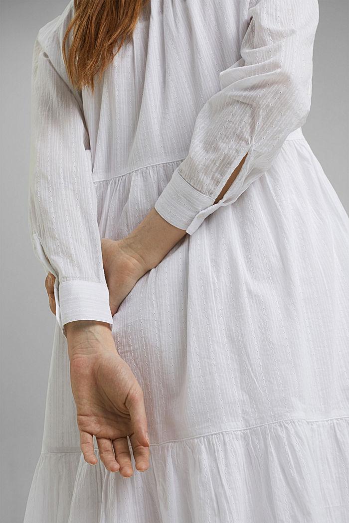 Hemdblusenkleid mit Volants, Organic Cotton, WHITE, detail image number 3