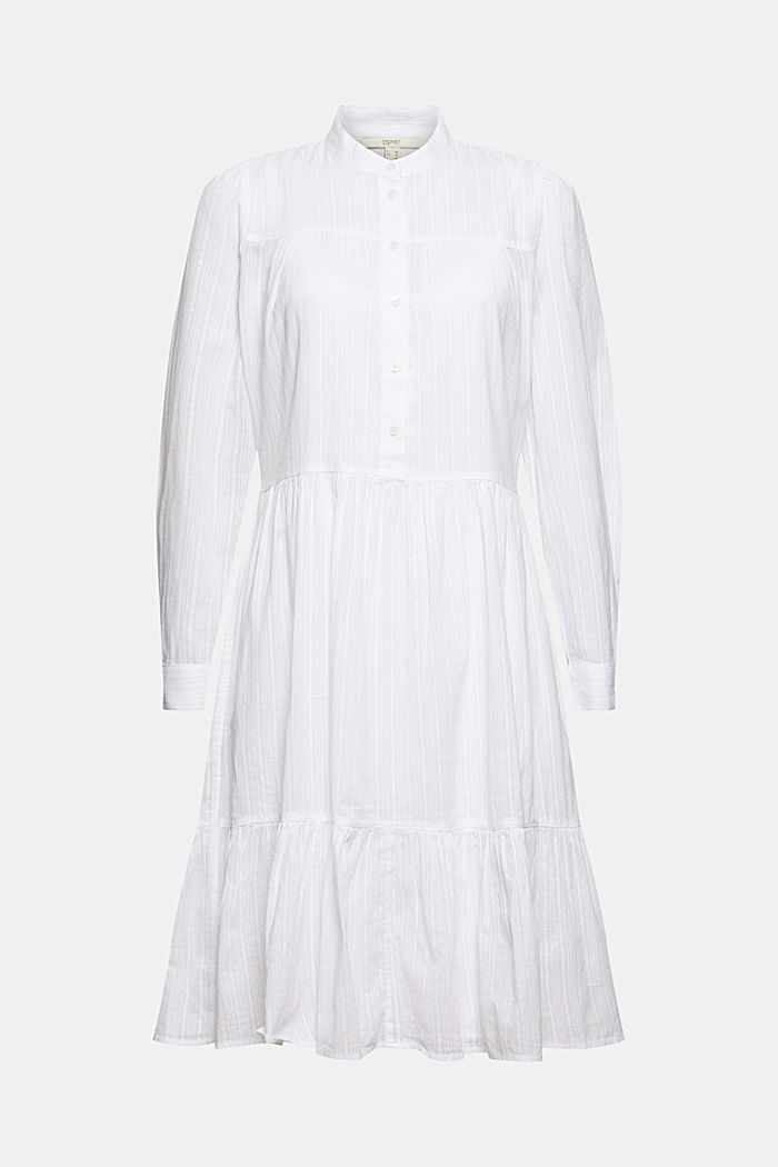 Organic cotton shirt dress with flounces