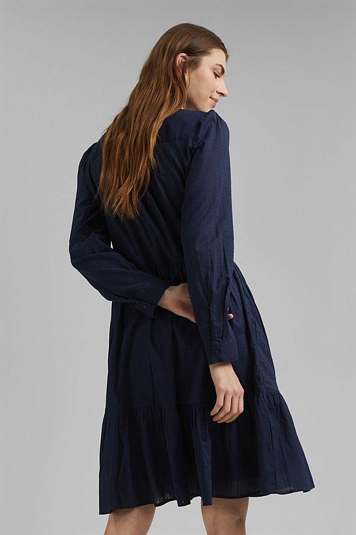 Robe-chemise à volants, coton biologique, NAVY, detail image number 2