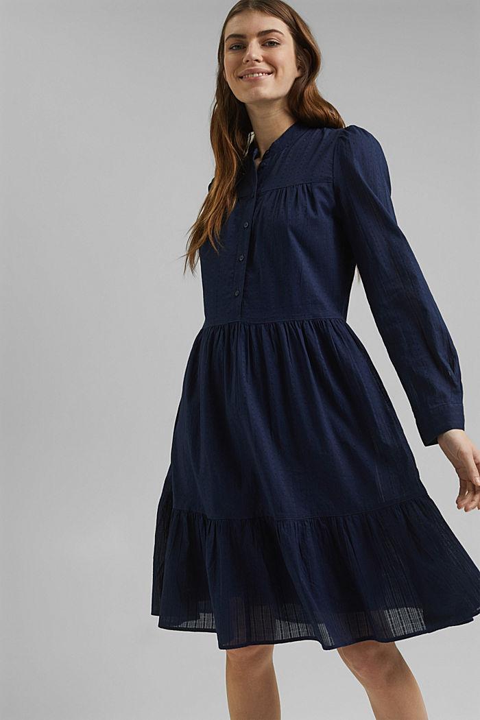 Robe-chemise à volants, coton biologique, NAVY, detail image number 5