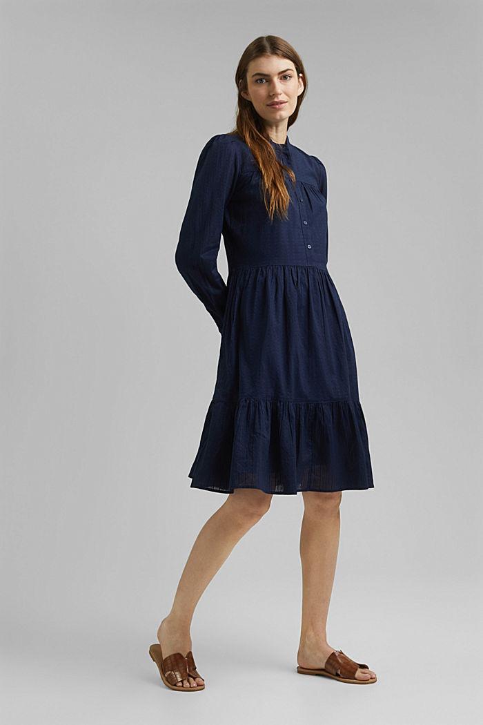 Robe-chemise à volants, coton biologique, NAVY, detail image number 1