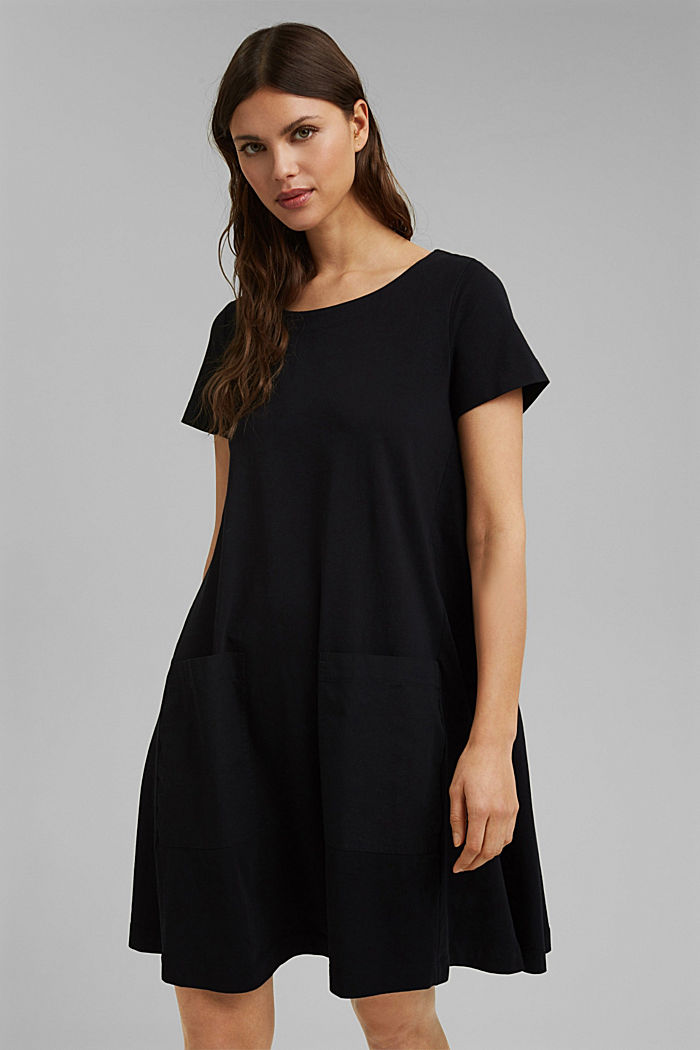 Jersey dress in organic cotton, BLACK, detail image number 0
