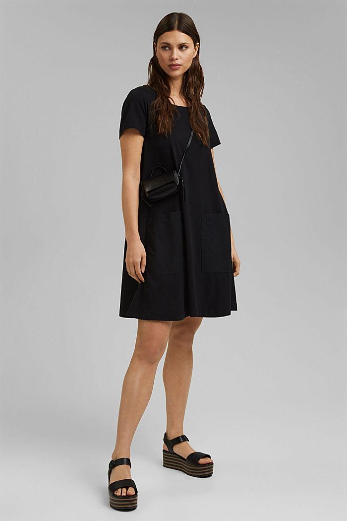 Jersey dress in organic cotton, BLACK, detail image number 1