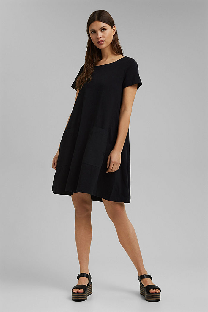 Jersey dress in organic cotton, BLACK, detail image number 6