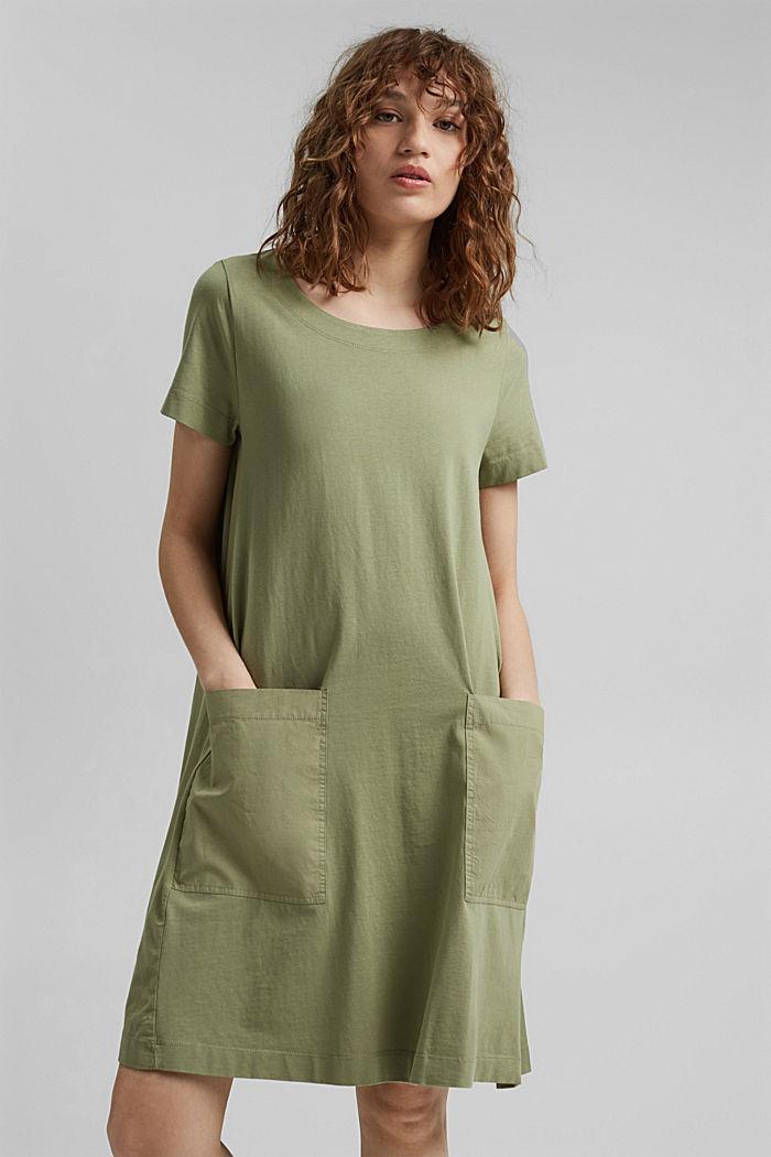 Vestido de jersey realizado en algodón ecológico, LIGHT KHAKI, detail image number 0