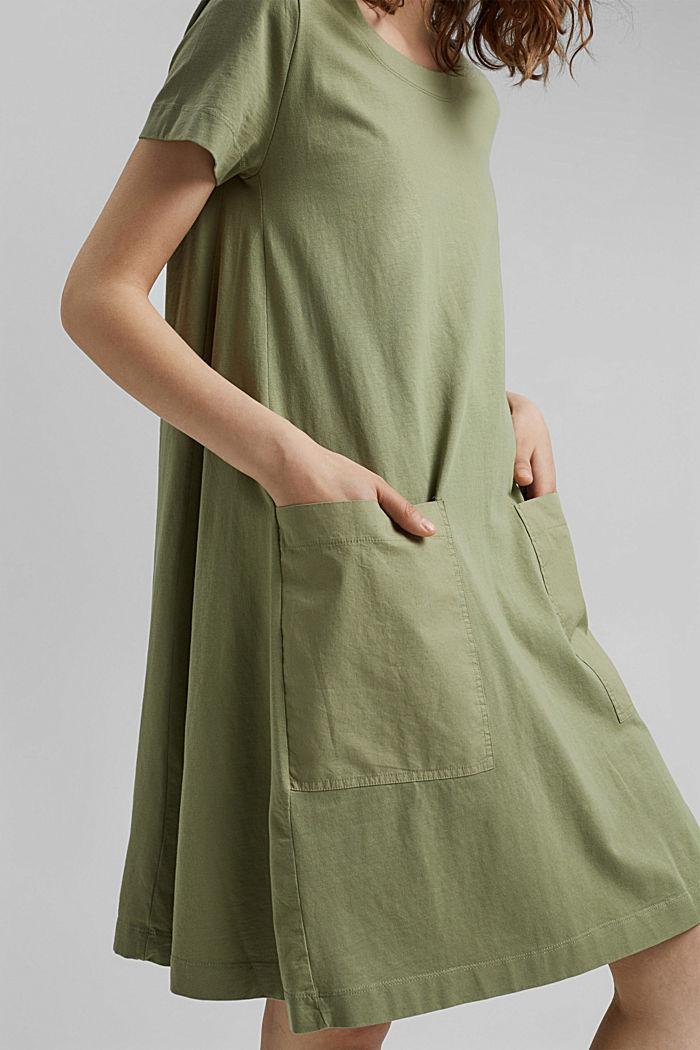 Vestido de jersey realizado en algodón ecológico, LIGHT KHAKI, detail image number 3