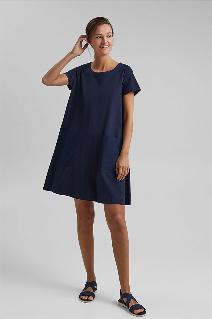 Jersey dress in organic cotton, NAVY, detail image number 1