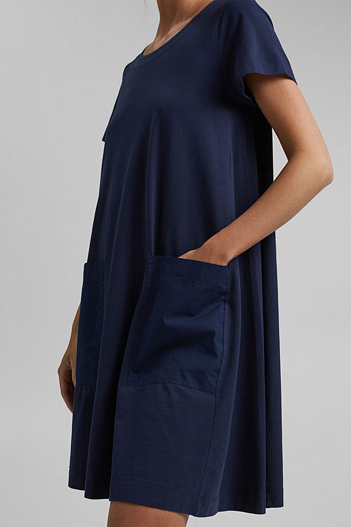 Jersey dress in organic cotton, NAVY, detail image number 3
