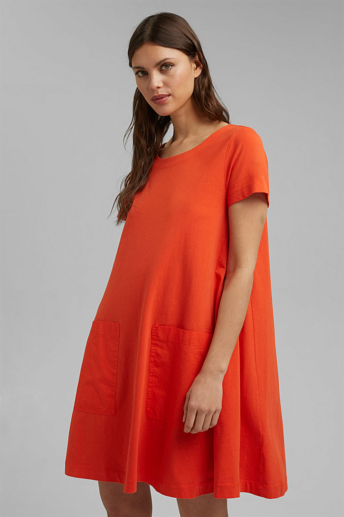 Jersey dress in organic cotton, ORANGE RED, detail image number 0