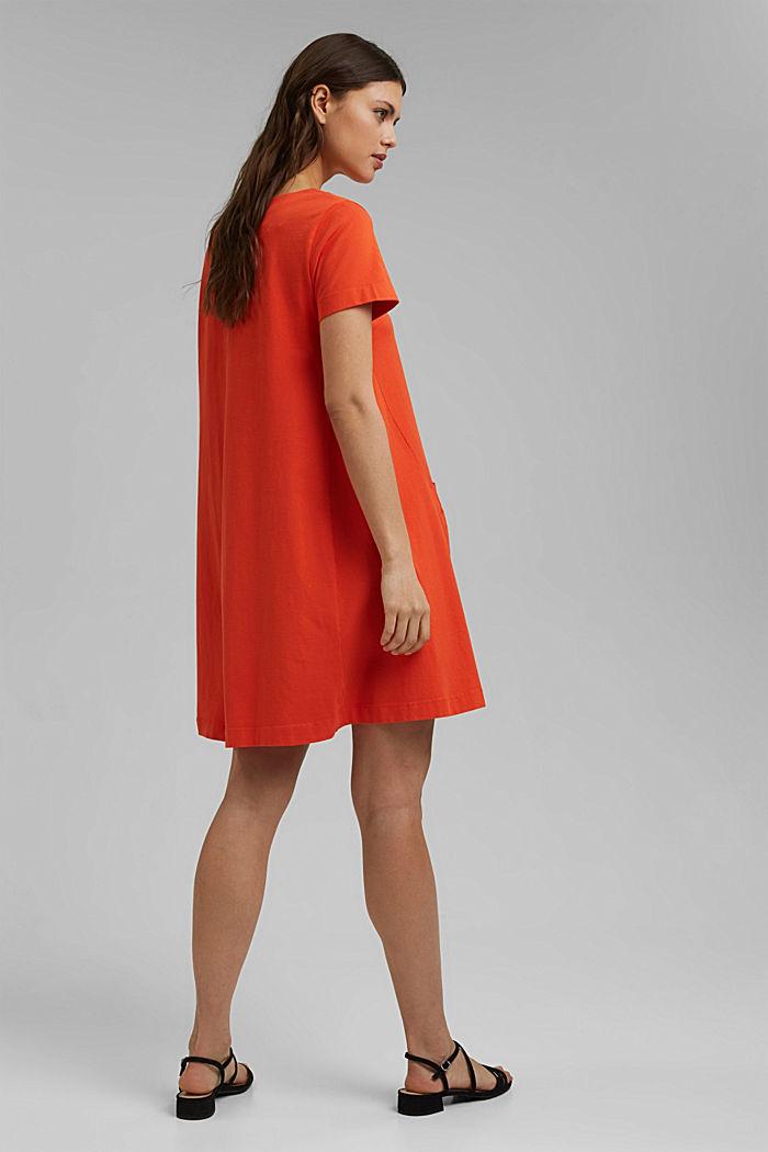 Jersey dress in organic cotton, ORANGE RED, detail image number 2